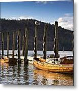 Boats Docked On A Pier, Keswick Metal Print