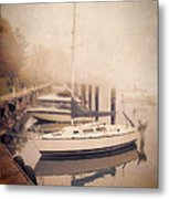 Boats In Foggy Harbor Metal Print