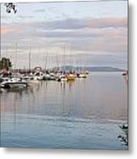 Boats In The Harbour At Sunset Thunder Metal Print