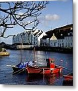 Boats Moored At A Riverbank With Metal Print