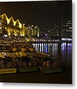 Boats Moored To The Side At Clarke Quay In Singapore Metal Print