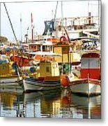 Boats On Santorini Metal Print