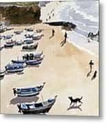 Boats On The Beach Metal Print by Lucy Willis