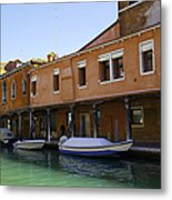Boats On The Canal - Venice Metal Print