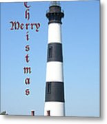 Bodie Lighthouse - Outer Banks - Christmas Card Metal Print