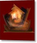 Bold Shapes On Red Metal Print