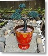 Bonsai Tree Medium Red Glass Vase Planter Metal Print