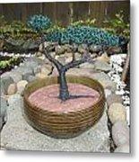 Bonsai Tree Round Brown Planter Metal Print