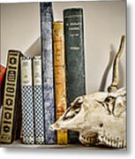 Books And Bones Metal Print by Heather Applegate