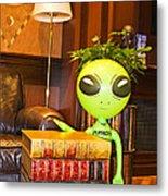 Bookworm Alien Metal Print