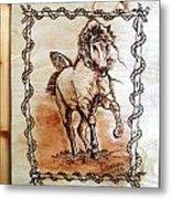 Born To Be Free-sylver  Horse Pyrography Metal Print