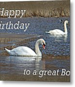 Boss Birthday Card - Mute Swans On Winter Pond Metal Print