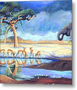 Botswana Watering Hole Metal Print