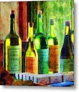 Bottles Of Wine Near Window Metal Print