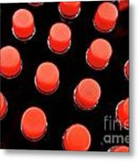 Bottles Red Caps Metal Print by Sami Sarkis