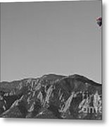 Boulder Colorado Flatirons Hot Air Balloon View Bw Metal Print