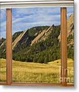Boulder Colorado Flatirons Window Scenic View Metal Print by James BO  Insogna
