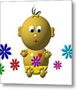 Bouncing Baby Girl With 7 Flowers Metal Print