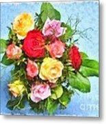 Bouquet Of Colorful Flowers - Digital Watercolor Painting Metal Print