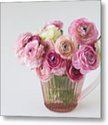 Bouquet Of  Pink Ranunculus Metal Print by Elin Enger