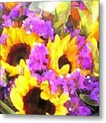 Bouquet Of Sunflowers And Purple Statice Metal Print
