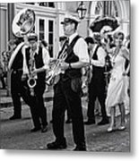 Bourbon Street Second Line Wedding New Orleans In Black And White Metal Print