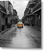 Bourbon Street Taxi Cab French Quarter New Orleans Color Splash Black And White Metal Print