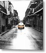 Bourbon Street Taxi French Quarter New Orleans Color Splash Black And White Diffuse Glow Digital Art Metal Print