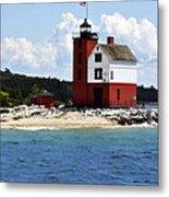 Round Island Light House Michigan Metal Print