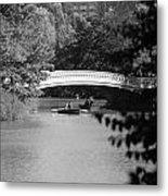Bow Bridge In Black And White Metal Print