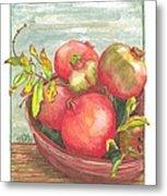 Bowl Of Pomegranates Metal Print