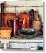 Bowls Basket And Wooden Spoons Metal Print