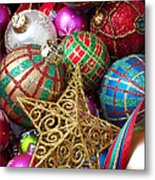 Box Of Christmas Ornaments With Star Metal Print