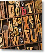Box Of Old Wooden Type Setting Blocks Metal Print