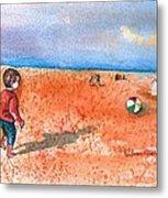 Boy At Beach Playing And Chasing Ball Metal Print