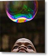 Boy Blowing Bubble Metal Print