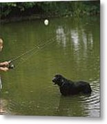 Boy Fishing In A Pond With A Black Metal Print