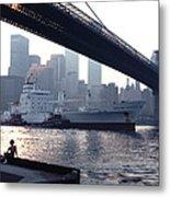 Boy Freighter Brooklyn Bridge Sunset Metal Print