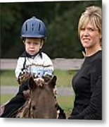 Boy His Horse And Mom Metal Print