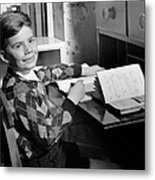 Boy Indoor At Desk Metal Print
