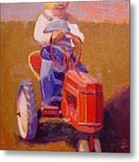 Boy On Tractor Metal Print