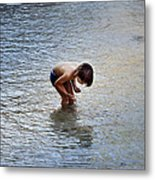 Boy Playing In The Pond Metal Print