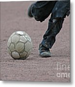 Boy Playing Soccer With A Ball Metal Print