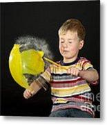 Boy Popping A Balloon Metal Print