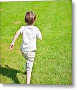 Boy Running Metal Print