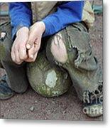Boy Sitting On Ball - Torn Trousers Metal Print