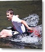 Boy Splashing Metal Print
