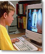 Boy Using A Multimedia Computer To Learn French Metal Print by Damien Lovegrove