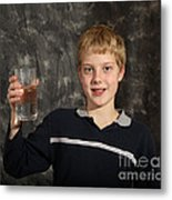 Boy With A Hot Glass Of Water Metal Print