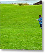 Boy With His Kite Maine Metal Print